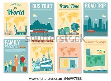Travel Tourism Brochure Set Template Magazine Stock Vector (Royalty
