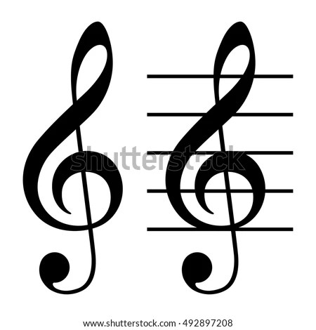 Treble Clef G Clef Simple Basic Stock Vector (Royalty Free