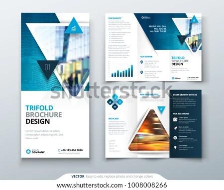 Tri Fold Brochure Design Blue Template Stock Vector (Royalty Free
