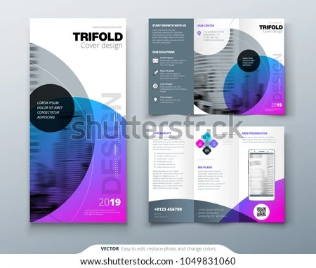 Tri Fold Brochure Design Purple Corporate Stock Vector (Royalty Free