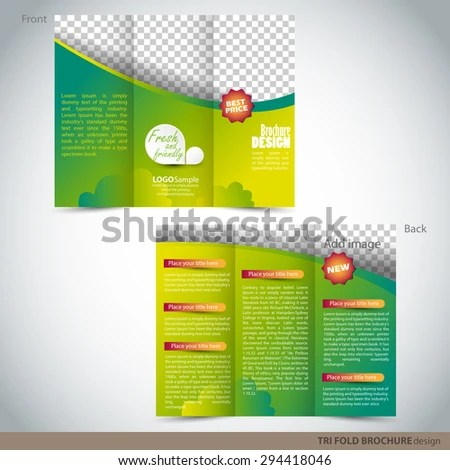 Tri Folder Brochure Leaflet Mock Up Stock Vector (Royalty Free