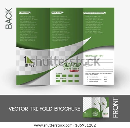 Tri Fold Golf Tournament Mock Brochure Design Stock Vector (Royalty