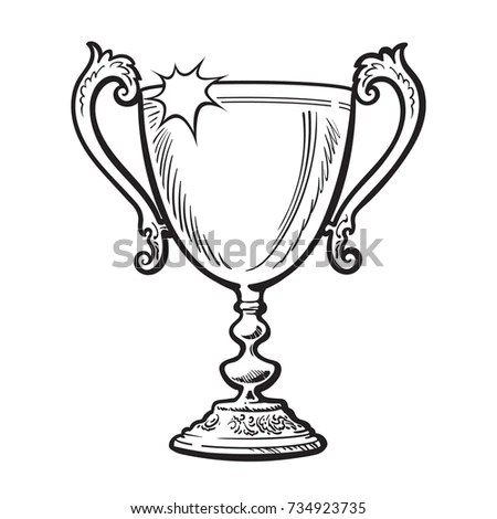 Trophy Winner Cup Award Black White Stock Vector (Royalty Free