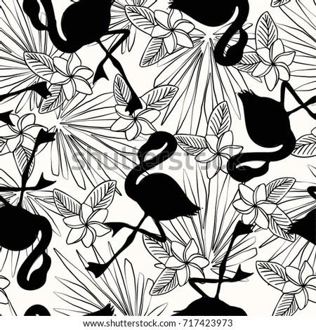 Tropical Flower Flamingo Pattern Black White Stock Vector (Royalty