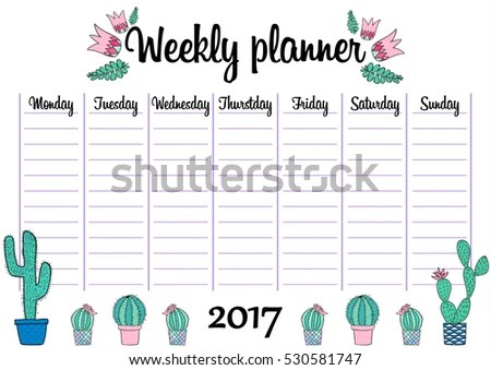 Tropical Weekly Daily Planner Template Plants Stock Vector (Royalty