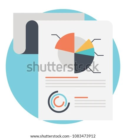Turned Report Circular Diagram Performance Analysis Stock Vector