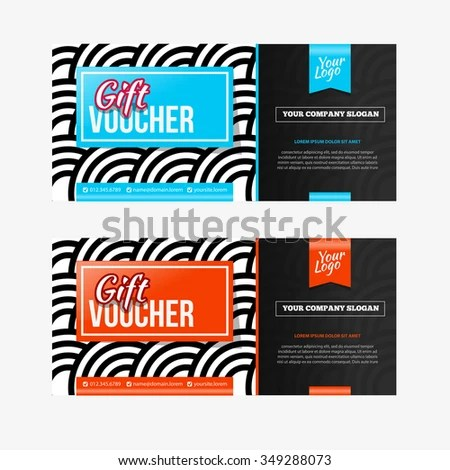 Two Coupon Vouchers Design Gift Voucher Stock Vector (Royalty Free