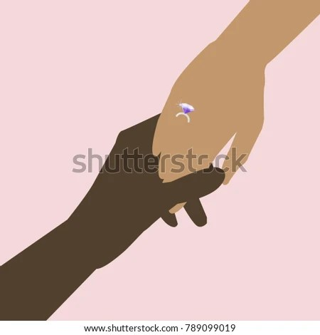 Two Hands Wearing Diamond Ring Silhouette Stock Vector (Royalty Free