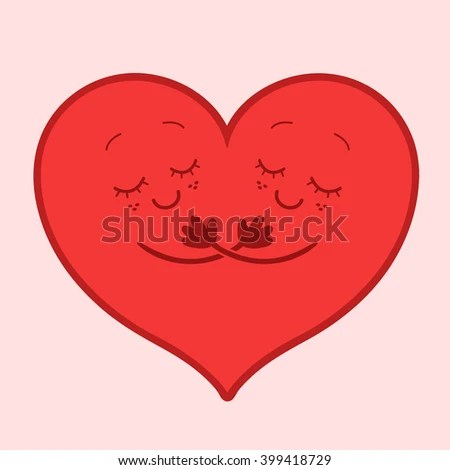 Two Parts Heart Hugging One Another Stock Vector (Royalty Free