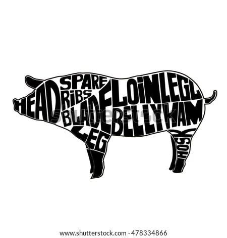 Typographic Pig Butcher Cuts Diagramicon Vector Stock Vector