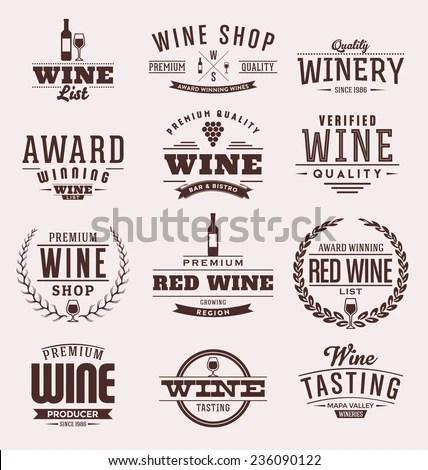 Typographic Wine Label Design Set Vintage Stock Vector (Royalty Free