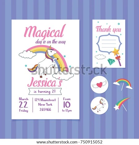 Unicorn Birthday Invitation Card Template Unicorn Stock Vector