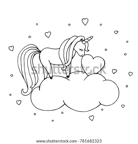 Unicorn Coloring Page Cute Hand Drawn Stock Vector (Royalty Free