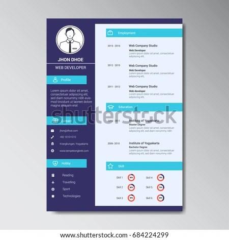 Unique Flat Color Curriculum Vitae Design Stock Vector (Royalty Free
