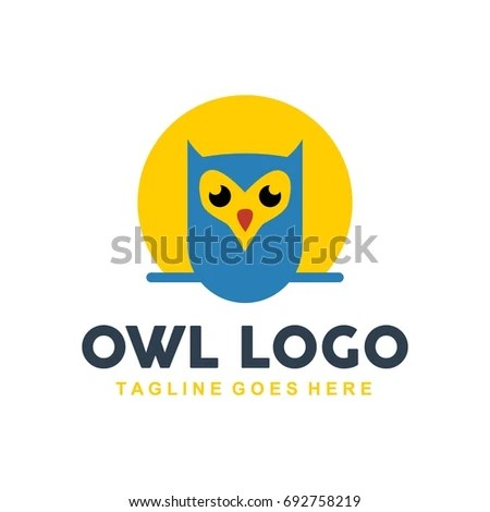 Unique Owl Logo Minimalist Shapes Colors Stock Vector (Royalty Free