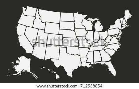 USA Map Isolated On Black Background Stock Vector (Royalty Free