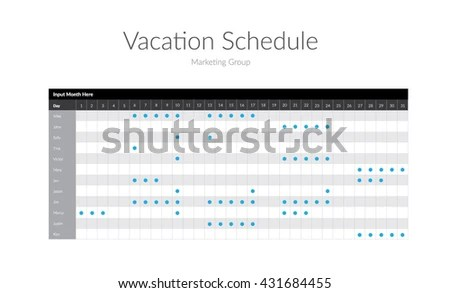 Vacation Schedule Template Stock Vector (Royalty Free) 431684455