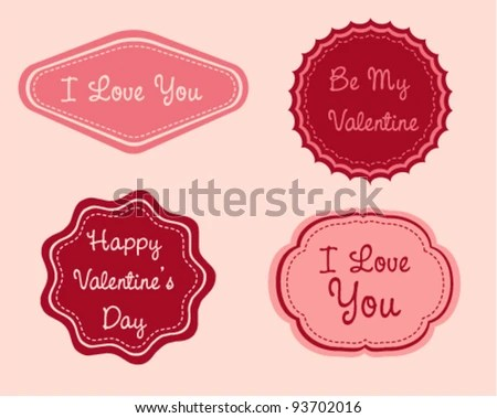 Valentine Day Labels Stock Vector (Royalty Free) 93702016 - Shutterstock