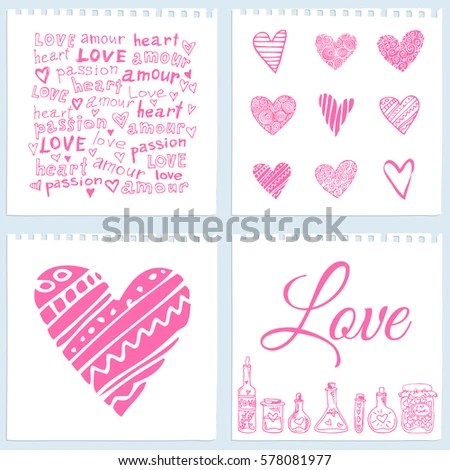 Valentines Day Cards On Notebook Leaves Stock Vector (Royalty Free