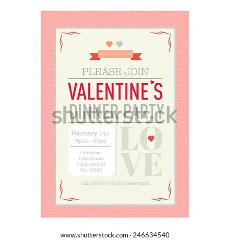 Valentines Day Dinner Invitation Card Template Stock Vector (Royalty