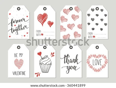 Valentines Day Gift Tags Set Stickers Stock Vector (Royalty Free