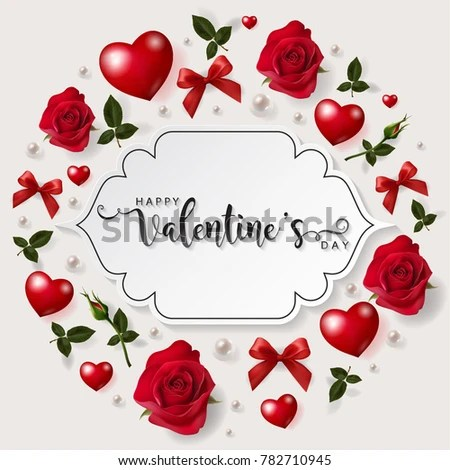 Valentines Day Greeting Card Templates Realistic Stock Vector