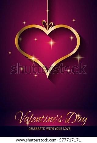 Valentines Day Restaurant Menu Template Background Stock Vector