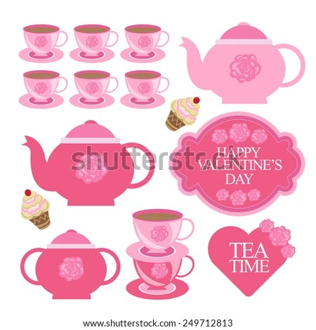 Valentines Day Tea Party Designing Element Stock Vector (Royalty