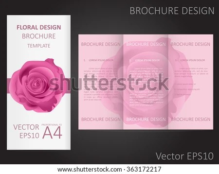 Valentines Day Wedding Brochure Template Rose Stock Vector (Royalty