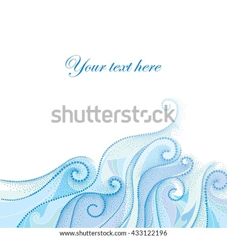 Vector Background Dotted Swirls Blue Curly Stock Vector (Royalty
