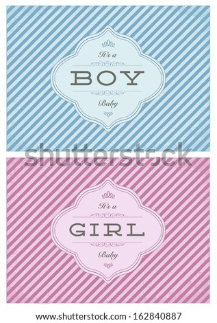 Vector Birth Announcement Template Set Boy Stock Vector (Royalty