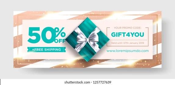 Vector Birthday Gift Coupon Elegant Christmas Stock Vector (Royalty