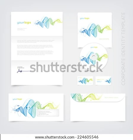 Vector Business Stationary Design Template Curly Stock Vector