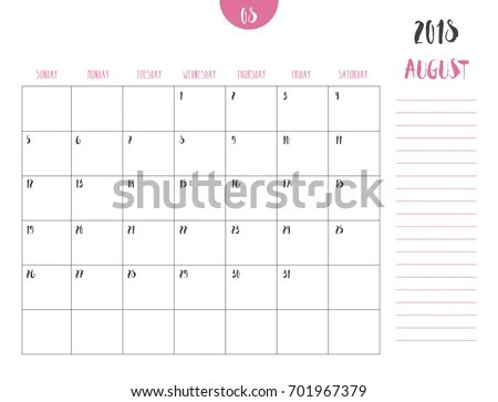 Vector Calendar 2018 August Simple Clean Stock Vector (Royalty Free