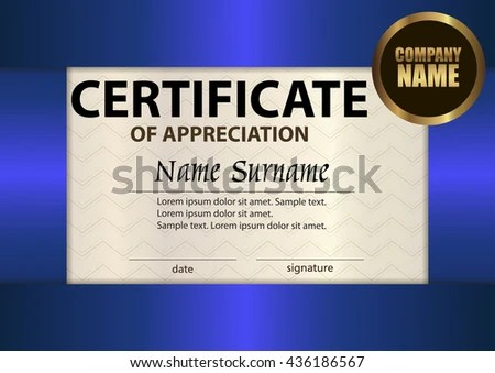 Vector Certificate Appreciation Template Award Winner Stock Vector