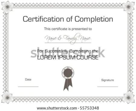 Vector Certificate Completion Template Stock Vector (Royalty Free