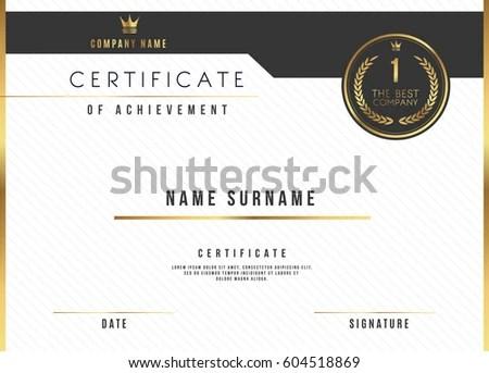 Vector Certificate Template Design Certificate Award Stock Vector