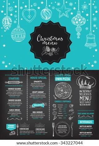 Vector Christmas Restaurant Brochure Menu Design Stock Vector
