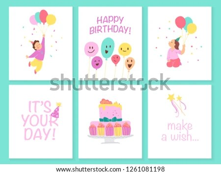 Vector Collection Kids Birthday Party Cards Stock Vector (Royalty