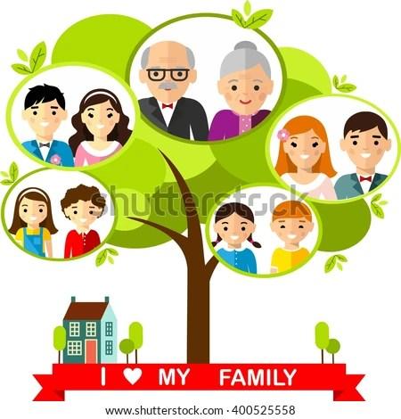 Vector Concept International Family Tree Set Stock Vector (Royalty