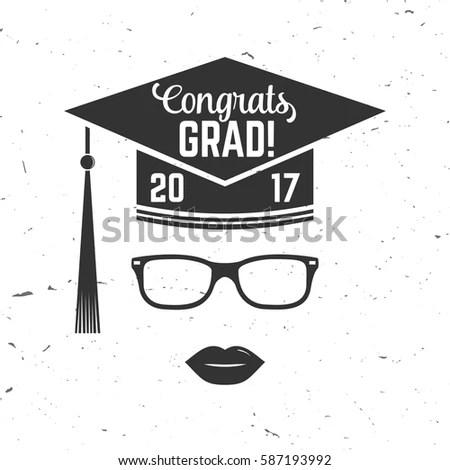 Vector Congratulations Graduates Class 2017 Badge Stock Vector
