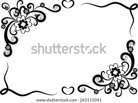 Vector Design Flowers Border Black White Stock Vector (Royalty Free