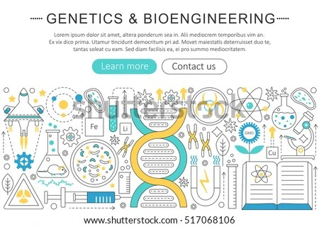 Vector Elegant Thin Flat Line Genetics Stock Vector (Royalty Free