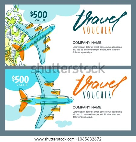 Vector Gift Travel Voucher Template Top Stock Vector (Royalty Free