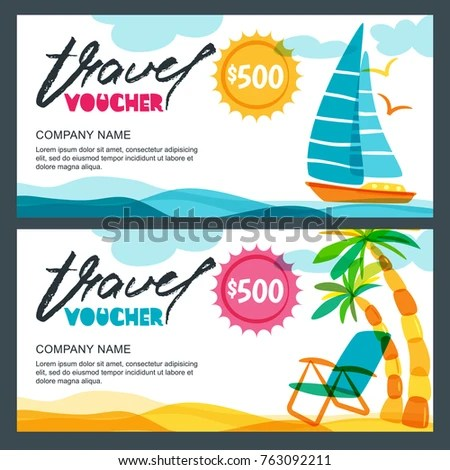Vector Gift Travel Voucher Template Tropical Stock Vector (Royalty