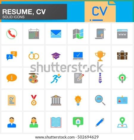 Vector Icons Set Resume CV Modern Stock Vector (Royalty Free