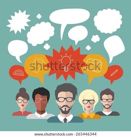 Vector Illustration Brainstorming People Speech Bubbles Stock Vector