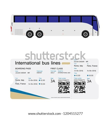 Vector Illustration Bus Boarding Pass Ticket Stock Vector (Royalty