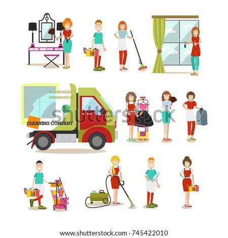 Vector Illustration Cleaning Ladies Cleaner Males Stock Vector