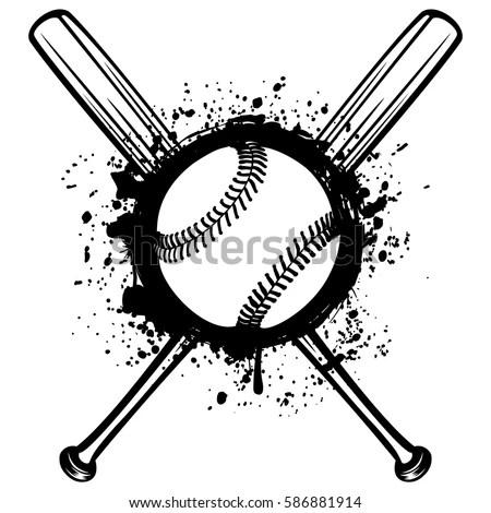 Vector Illustration Crossed Baseball Bats Ball Stock Vector (Royalty